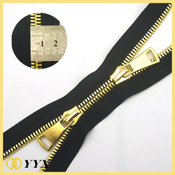 smooth pull #7 black color double sided metal zipper
