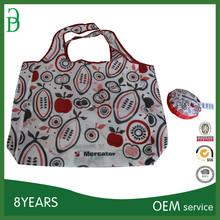 reusable polyester foldable shopping bag with printing logo
