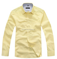 Men's Gender Button Down Collar Long Sleeve Yellow Oxford Executive Dress Shirts