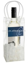 nice recyclable clear pvc wine bottle bag ice bag with pocket