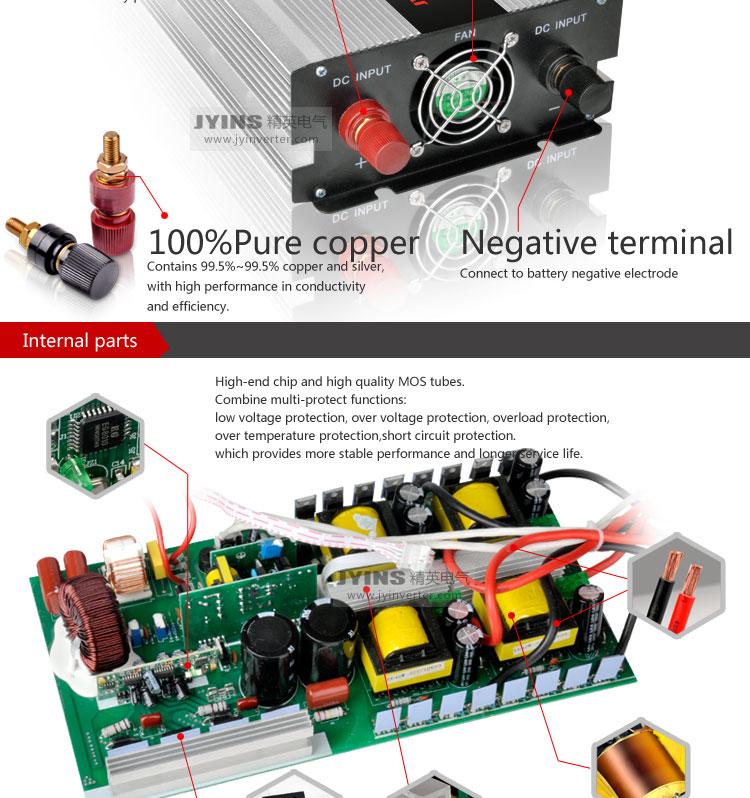 12v 24v 48v dc to ac 110v 220v off grid pure sine wave 2000W power inverter solar