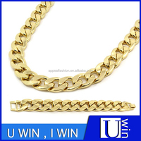 New Hip Hop Gold Plated Cuban Miami Necklace Chain And Bracelet 20mm 30 Inc