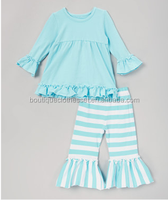 Boutique Cotton Fall Smocked Clothes Sets Long Sleeves With Striped Ruffles Pant Outfits Cheap Price Sets