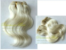 Double drawn white human hair weft extensions cheap wholesale price natural looking no shed no tangle