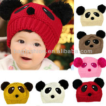 Lovely cute Panda Pattern Dual Ball Toddler Baby hat Girls/Boys Wool Sweater Cap knitted Hat
