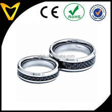 Luxurious Wedding Ring, His And Hers Wedding Ring Sets Tungsten Carbide Black Carbon Fiber Inlay 2 Pieces 68mm Wedding Band Sets