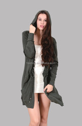 The merino wool wrap cardigan with hoodies and pocket of women