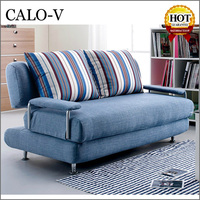 CALO-V 1.5 meters 2 seater linen come design folding sofa bed with arm