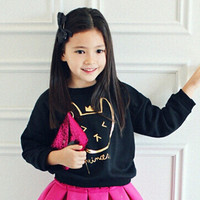 Phelfish brand T shirt cartoon long sleeve Sweatshirts tops Children clothes OEM Girls o-neck sweatshirt 15094