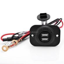 12V Waterproof Power Outlet Cigarette Lighter Socket 2.1A Dual USB Charger Panel Flush Mount For Chevrolet Dodge Ford Nissan