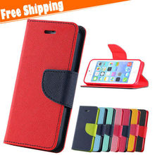 New Luxury Fashion dual colors design Wallet Flip Leather Phone Case Cover For iPhone 5 5S
