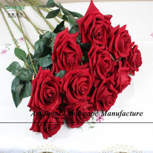 SJZR21 Newest real touch silk rose/artificial rose flower , big red rose flower