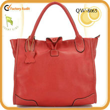 Whosales red lady leather stylish tote bag manufacturer Guangzhou
