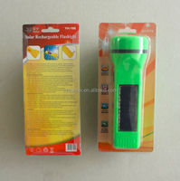 1W LED solar rechargeable flashlight torch light