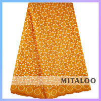 Mitaloo 2015 Newest Customized China Factory Supplier Orange Lace Fabric African Swiss Voile Lace MSL0336