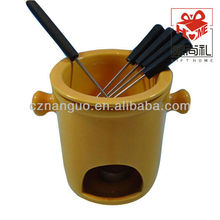 ceramic hot chocolate fondue pot with fork