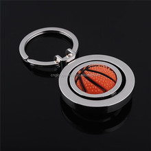 Custom design rubber metal spinning basketball keychain