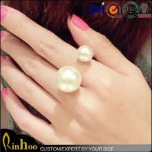 Elegant Korean White Double Pearls Knuckle Rings Designs Lovey Adjustable Women Jewelry