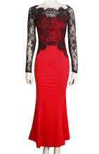 2015 Wholesale Fashion Dresses Lace Patchwork Long Sleeve Off Shoulder Red Mermaid Evening Prom Dress