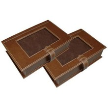 Leather photo storage box PU picture photo holder