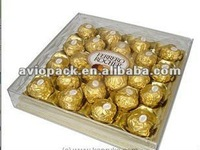 Plastic Chocolate Packing Box with divided golden tray