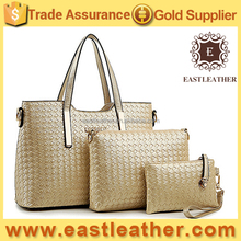 E1283 handbags factory in china set style 3 in 1 weave designer hand bag
