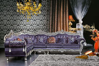 DanXueYa European design modern furniture ornate corner sofa purple royal living room furniture