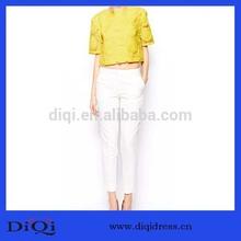 2014 de diseño de moda flor bordada damas corto t camisa