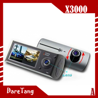 Factory direct 2.7 inch 120 degree dual camera GPS X3000 car dvr