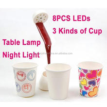 2015 New Birthday or New year Gift Pour Coffee DIY LED Night Light Novelty Table Lamp for Bedroom Free Shipping
