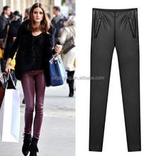Lady Trousers Sexy Pants PU Female Full Long Trousers Women PU Pants