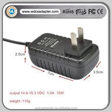 15V 1A wall charger EU/US/AU plug with EAC CE ROHS certification