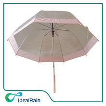 transparent with pink pipping clear children dome umbrella