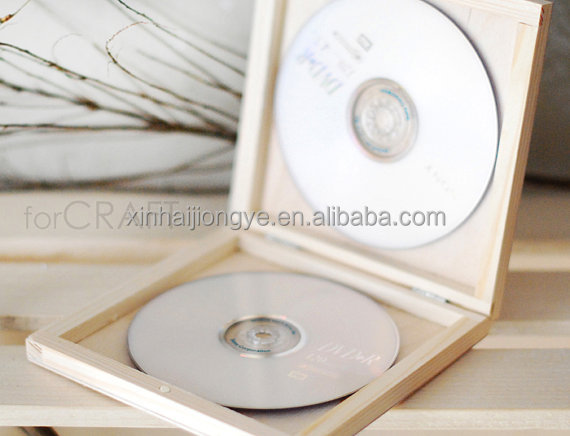 Customized Print Logo Double CD Wooden Case, Natural Color DVD Wood Box