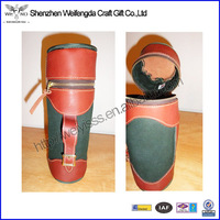 Fashion Design Handmade Faux PU leather antique wine carrier