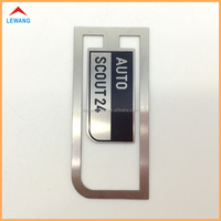 2015 New Arrival Printing Black Logo Metal Clip with Matte Silver Bookmarks for Auto Gifts