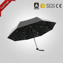 2015 new inventions SPF 50 black coated 3 fold umbrella