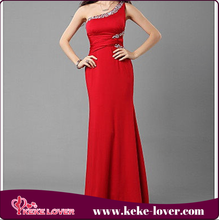 2015 latest adult lady girls party dress red sexy fashion even long prom dress one shouler maxi dress