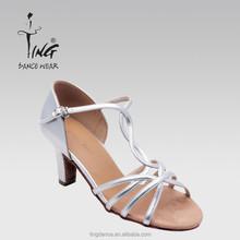2015 new low heel cross strap silver women latin shoes