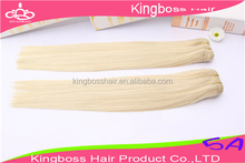 blonde color top quality 100% human hair weft for white woman