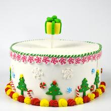 Xmas gift box decoration on cake decor