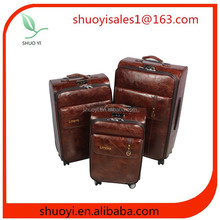 raw pure rugged 2 wheel PU suitcase sets /leather bag