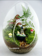 wholesale egg shape crystal glass hanging flower vases, air plant glass terrarium different types for wedding fairy decoration