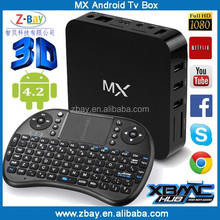 MX pre-install KODI full load add ons dual core android smart tv box with factory price