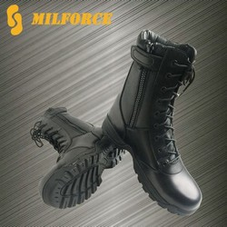 high quality black light weight cheap durable leather outdoor leather black army shoes