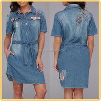 fashion embroidery design women denim dress from china