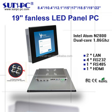 cheap price 19 inch fanless indsutrial panel pc, rugged all in one touchscreen pc, industrial touch computer N2800,RS232/485