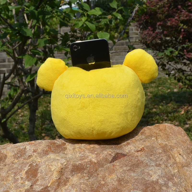 Custom Made Stuffed Animal Shaped Mobile Phone Holder Plush Funny Cell Phone Holder For Desk