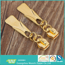 factory supply high quality nylon 7# gold finish zipper slider for garment accessories