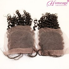 Homeage First class remy hair virgin Indian hair closure Romance curl Real human hair